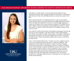 fau high student awarded scholarship to study chinese in china