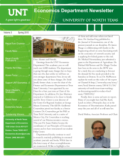 Newsletter - Department of Economics