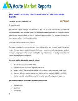 Lime Markets in the Top 5 Asian Countries to 2019 by Acute Market Reports