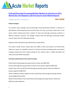 Food and Beverage Processing Machine Markets in Americas