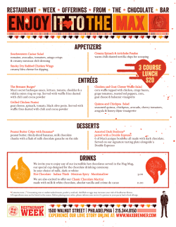 Max Brenner Philadelphia Restaurant Week Summer Menu