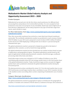 Global Maltodextrin Market 2015 to 2021 Trends, Growth and Forecast upto By Acute Market Reports