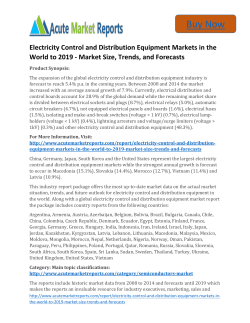 Global Electricity Control and Distribution Equipment Markets in the World to 2019 Till,- New Study By Acute Market Report