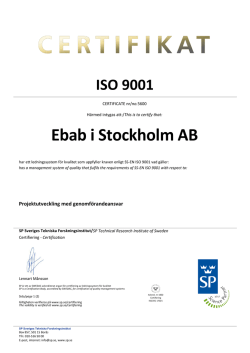 This is to certify that: Ebab i Stockholm AB