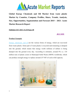 Global Energy Chemicals and Oil Market from waste plastic Market