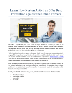 Learn How Norton Antivirus Offer Best Prevention against the Online Threats