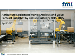 Agriculture Equipment Market Dynamics, Segments and Supply Demand 2015-2025