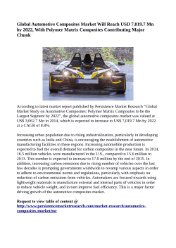Automotive Composites Market Anticipated To Value US$ 7,019.7 Million By 2022
