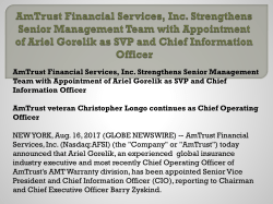AmTrust Financial Services, Inc. Strengthens Senior Management Team with Appointment of Ariel Gorelik as SVP and Chief Information Officer