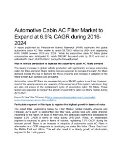 Automotive Cabin Ac Filter Market Anticipated To Value US$ 3,738.2 Million By 2024