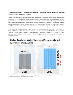 Produced Water Treatment Systems Market Anticipated To Reach  US$ 6 Bn  By 2020