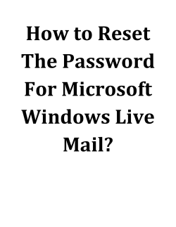 How To Reset The Password For Microsoft Windows Live Mail