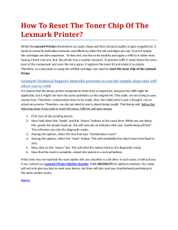 How To Reset The Toner Chip Of The Lexmark Printer?