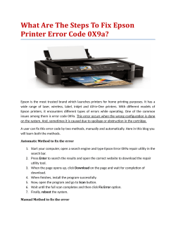 What Are The Steps To Fix Epson Printer Error Code 0X9a?
