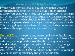Get Automated! CRM For Tax Company