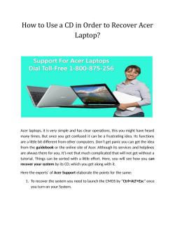How to Use a CD in Order to Recover Acer Laptop?