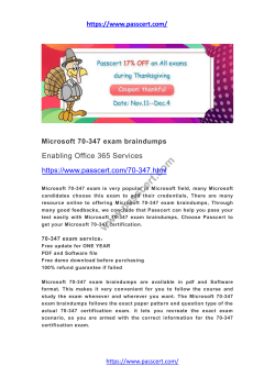 Microsoft 70-347 exam braindumps