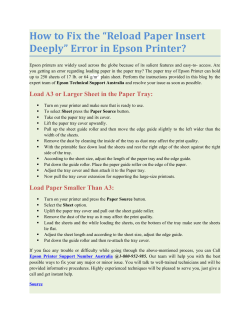 "How To Fix The ""Reload Paper Insert Deeply"" Error In Epson Printer?"