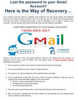 Lost the password to your Gmail Account