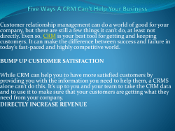 Five Ways A CRM Can't Help Your Business