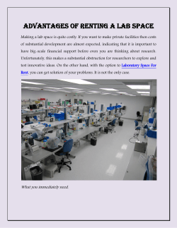 Advantages of Renting a Lab Space