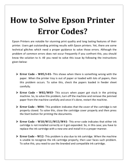 How To Solve Epson Printer Error Codes