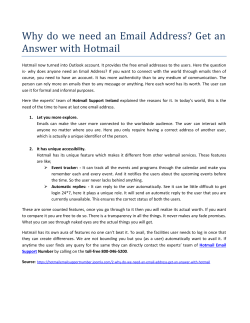 Why do we need an Email Address? Get an Answer with Hotmail