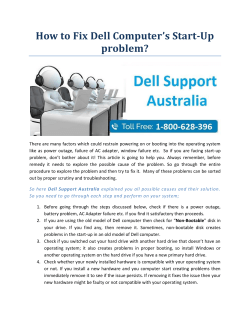 How to Fix Dell Computer's Start-Up problem?