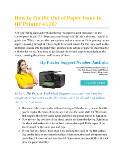 How to Fix the Out of Paper Issue in HP Printer 4110?