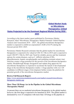Microbiome Therapeutics Market to Cross US$ 890 Mn by 2025