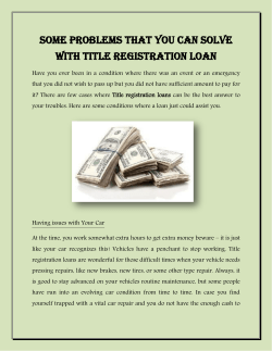 Some Problems that You Can Solve With Title Registration Loan