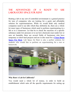 The Advantages Of A Ready To Use Laboratory Space For Rent
