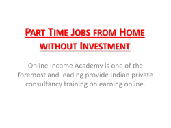 Part Time Jobs from Home without Investment