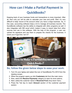 How can I Make a Partial Payment in QuickBooks?