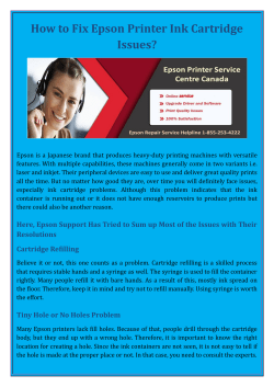 How to Fix Epson Printer Ink Cartridge Issues?