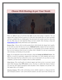 Choose Web Hosting As per Your Needs