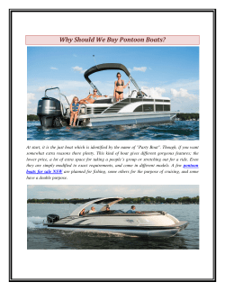 Why Should We Buy Pontoon Boats
