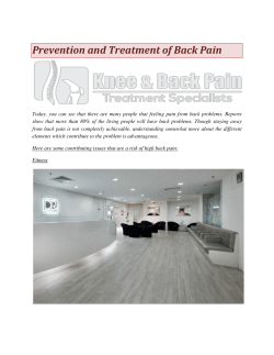 Prevention and Treatment of Back Pain