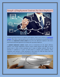 Sample of Employment Contract For New Employers