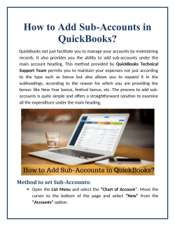 How to Add Sub-Accounts in QuickBooks?