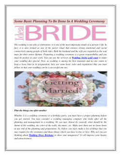 Some Basic Planning To Be Done In A Wedding Ceremony