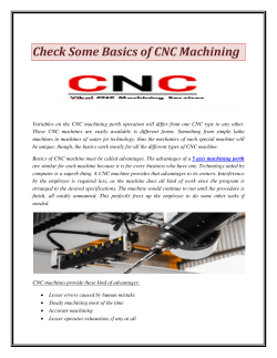 Check Some Basics of CNC Machining