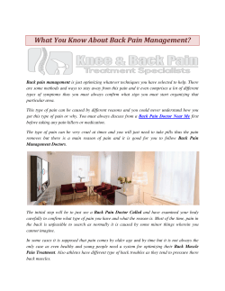What You Know About Back Pain Management