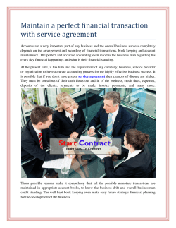 Maintain a perfect financial transaction with service agreement
