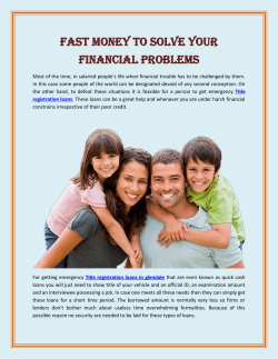 Fast Money To Solve Your Financial Problems(1)