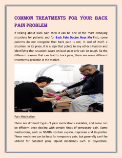 Common Treatments For Your Back Pain Problem