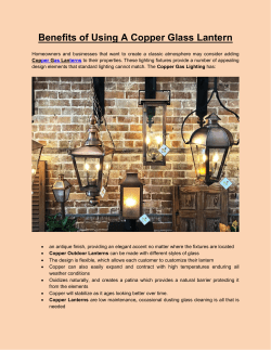 Benefits of Using A Copper Glass Lantern