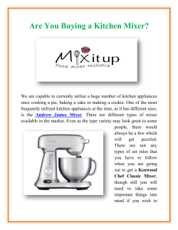 Are You Buying a Kitchen Mixer