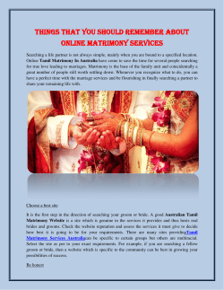 Things That You Should Remember About Online Matrimony Services
