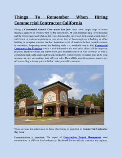Things To Remember When Hiring Commercial Contractor California